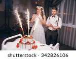 wedding couple cut a cake in a... | Shutterstock . vector #342826106