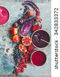 purple color food collage.... | Shutterstock . vector #342833372