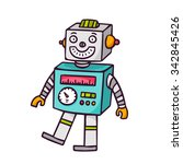 toy robot  bright vector... | Shutterstock .eps vector #342845426
