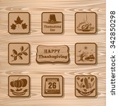 thanksgiving vector icons on a... | Shutterstock .eps vector #342850298