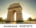 birds flying over india gate ... | Shutterstock . vector #342873575