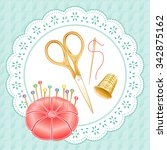 gold vintage sewing set ... | Shutterstock .eps vector #342875162