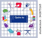 quilting icons for diy sewing ... | Shutterstock .eps vector #342875165