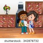 children working in the library ... | Shutterstock .eps vector #342878732