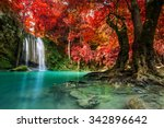 waterfall in autumn forest at... | Shutterstock . vector #342896642