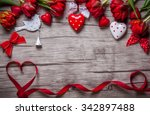 valentines day background with... | Shutterstock . vector #342897488