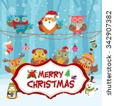 vintage christmas poster design ... | Shutterstock .eps vector #342907382