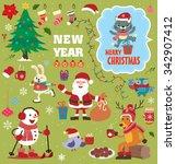vintage christmas poster design ... | Shutterstock .eps vector #342907412