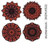 orange and black circular... | Shutterstock .eps vector #342914522