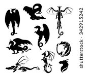 big vector set of dragons.... | Shutterstock .eps vector #342915242