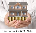 holding house representing home ... | Shutterstock . vector #342915866