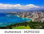 skyline of honolulu  hawaii and ... | Shutterstock . vector #342932102
