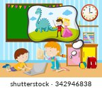 boy and girl working in the... | Shutterstock .eps vector #342946838