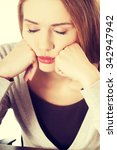 portrait of a young tired woman. | Shutterstock . vector #342947942