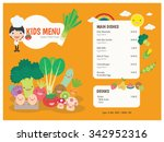 kids menu. vector template. | Shutterstock .eps vector #342952316