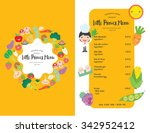 kids menu. vector template. | Shutterstock .eps vector #342952412