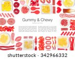 various jelly candies on white... | Shutterstock . vector #342966332