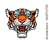 tiger head. vector illustration ... | Shutterstock .eps vector #342971735