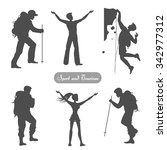 sport silhouettes. hiking ... | Shutterstock .eps vector #342977312