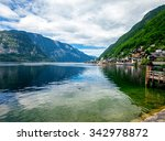 mountains in village hallstatt... | Shutterstock . vector #342978872