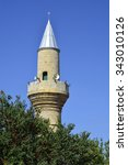 Small photo of Cyprus, minaret of Ager Cafer Pasha mosque in Kyrenia aka Girne