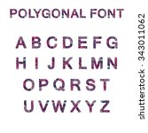 polygon font alphabet purple... | Shutterstock .eps vector #343011062