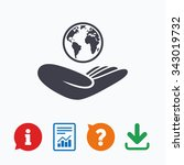world insurance sign. hand...   Shutterstock .eps vector #343019732