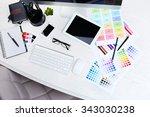 working place of designer ... | Shutterstock . vector #343030238