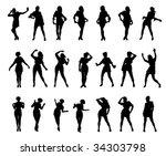 girl silhouettes animated set | Shutterstock .eps vector #34303798