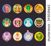 chinese horoscope animals... | Shutterstock .eps vector #343038662