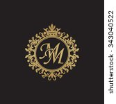 mm initial luxury ornament... | Shutterstock .eps vector #343040522