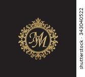 mm initial luxury ornament...   Shutterstock .eps vector #343040522