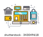 cash register line style. money ... | Shutterstock .eps vector #343049618