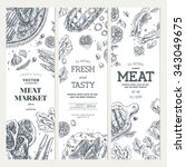 meat market  banner collection. ... | Shutterstock .eps vector #343049675