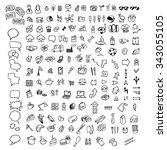 vector universal doodle icons | Shutterstock .eps vector #343055105