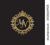 mn initial luxury ornament...   Shutterstock .eps vector #343065905