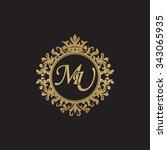 mu initial luxury ornament...   Shutterstock .eps vector #343065935
