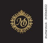 mo initial luxury ornament...   Shutterstock .eps vector #343066022