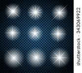 set of glowing light stars with ... | Shutterstock . vector #343069922