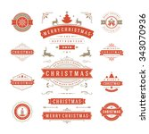 christmas labels and badges... | Shutterstock .eps vector #343070936