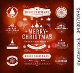 christmas decorations vector... | Shutterstock .eps vector #343070942