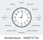 learn to use an analogue clock ... | Shutterstock .eps vector #343071716