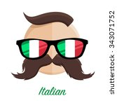 italian hipster man with flag... | Shutterstock .eps vector #343071752
