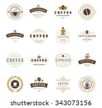 coffee shop logos  badges and... | Shutterstock .eps vector #343073156