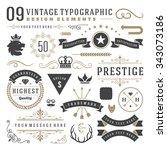 retro vintage typographic... | Shutterstock .eps vector #343073186