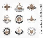 retro vintage logos or... | Shutterstock .eps vector #343074302