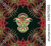 seamless pattern with tribal... | Shutterstock .eps vector #343075202