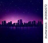 night city skyline. vector... | Shutterstock .eps vector #343082072