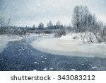 winter landscape frozen creek... | Shutterstock . vector #343083212