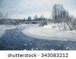 winter landscape frozen creek... | Shutterstock . vector #343083212